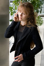 Free The Girl Speaks By Phone Royalty Free Stock Photography - 2396887