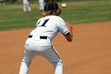 Free Catching Ball On First Base Royalty Free Stock Images - 2394009