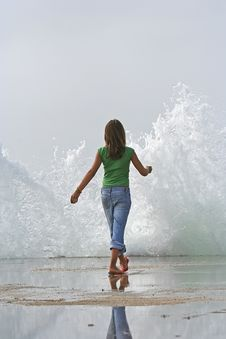 Free Girl With Wave Splash Stock Image - 2395911