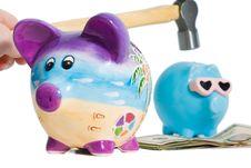 Free Hammer Piggy Bank Royalty Free Stock Image - 2397166