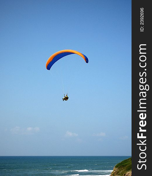 Parachute with man