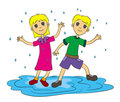 Free Kids In The Rain Stock Photography - 23908242