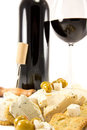 Free Red Wine With Crackers And Cheese Stock Photos - 23908913