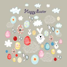 Free Easter Card With Eggs And Bunnies Stock Photo - 23902010