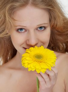 Beautiful Blonde Girl With Yellow Gerbera Flower Stock Photos