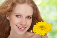 Beautiful  Girl With Yellow Gerbera Flower Stock Images