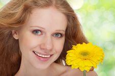 Beautiful  Girl With Yellow Gerbera Flower