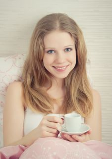 Free Beautiful Young Woman With Cup Of  Coffee Stock Image - 23903861
