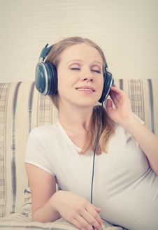 Beautiful Young Woman Listening To Music Stock Photos