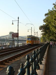 The Tram 2 Traveling By The Danube In Budapest Stock Image