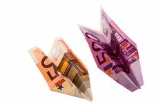 Free Paper Planes From Money Royalty Free Stock Images - 23906369