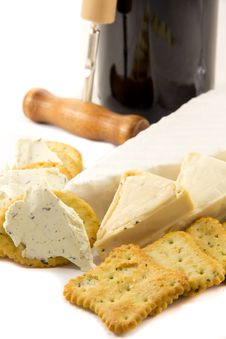 Free Cheese And Red Wine Stock Image - 23908901