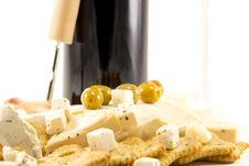 Free Feta Cheese And Red Wine And Crackers Stock Image - 23908911