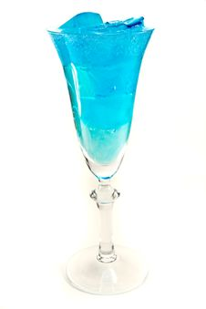 Free Wine Glass With Blue Iceubes Stock Images - 23908914