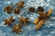 Free Anise And Cinnamon Over Blue Background Royalty Free Stock Photography - 23911697