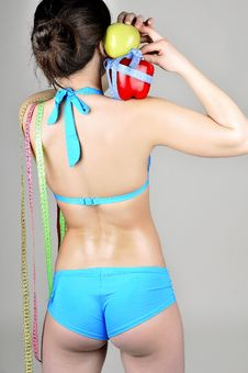 Free Rear View Slender Girl In A Blue Swimsuit Stock Photo - 23913580