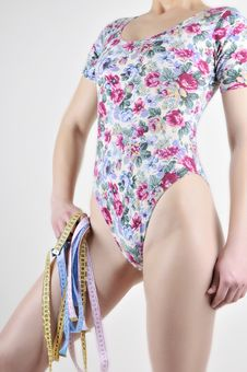 Free The Front View Of A Slender Female Body In A Flowe Stock Photos - 23913643