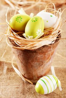Free Easter Eggs On Straw Nest Royalty Free Stock Photography - 23915707