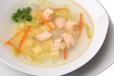 Soup With Salmon Closeup Stock Images