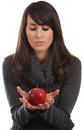 Free Red Apple In Her Hands Stock Images - 23922904