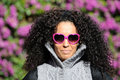 Free Funny Black Girl With Purple Heart Glasses Royalty Free Stock Image - 23929216