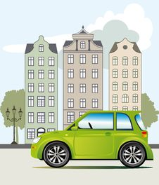 Free Green Car In The City Royalty Free Stock Photos - 23926018