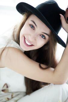 Free Lifestyle - Sensual Girl In Black Bonnet Closeup Stock Photo - 23929570