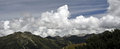 Free Mountain Peaks And Clouded Sky Panorama Royalty Free Stock Photo - 23938215