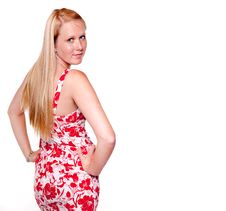 Blonde On White Background Royalty Free Stock Images
