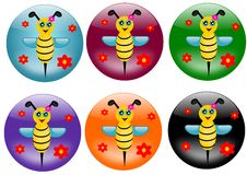 Free Bees Buttons Royalty Free Stock Photos - 23933128