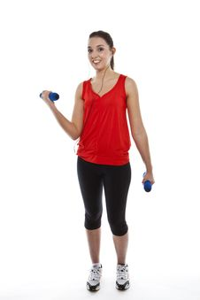 Free Young Fit Woman Exercising With Weights Royalty Free Stock Photography - 23942237