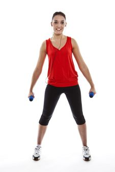 Free Young Fit Woman Exercising With Weights Royalty Free Stock Image - 23942246