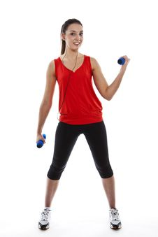Free Young Fit Woman Exercising With Weights Stock Image - 23942251