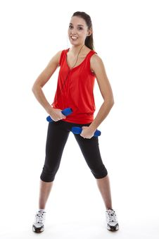 Free Young Fit Woman Exercising With Weights Royalty Free Stock Images - 23942259