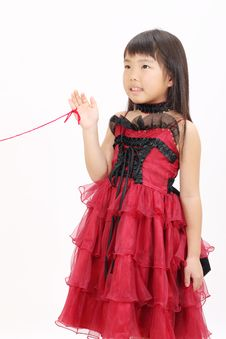 Free Little Asian Girl Wearing Dress Royalty Free Stock Photography - 23942477
