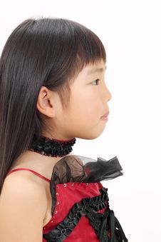 Free Little Asian Girl Wearing Dress Stock Photos - 23942493