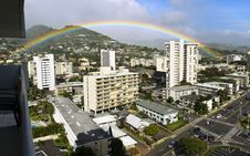 Free Rainbow Over Honolulu Stock Image - 23942601