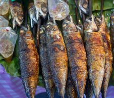 Grilled Fish On Banana Leaf Stock Photo