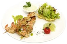 Free Skewers Of Shrimp Royalty Free Stock Photos - 23949588