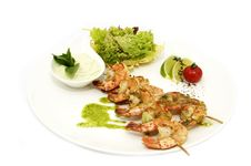Skewers Of Shrimp Stock Photos