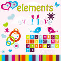 Free Cute Birds & Hearts Elements Royalty Free Stock Photography - 23950667