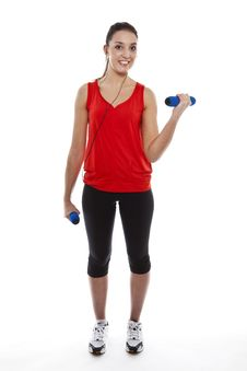 Free Young Fit Woman Exercising With Weights Stock Images - 23950784