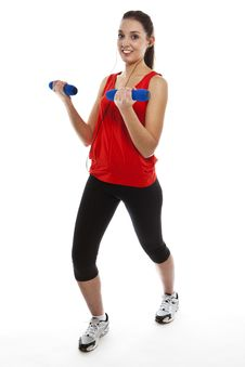 Free Young Fit Woman Exercising With Weights Stock Photography - 23950812