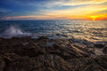 Free Sea Beach And Rock On Sunset Time Royalty Free Stock Images - 23969329
