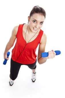 Free Young Fit Woman Exercising With Weights Royalty Free Stock Photography - 23961697