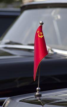 Soviet Flag On The Car Flagpole Royalty Free Stock Photos