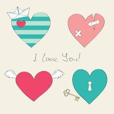 Free Cute Hearts Collection Royalty Free Stock Photos - 23965678