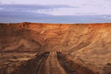 Dead-end Road In Sand Quarry Royalty Free Stock Photography