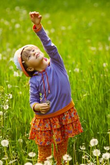 Free Girl Playing With A Dandelion Royalty Free Stock Photos - 23968498