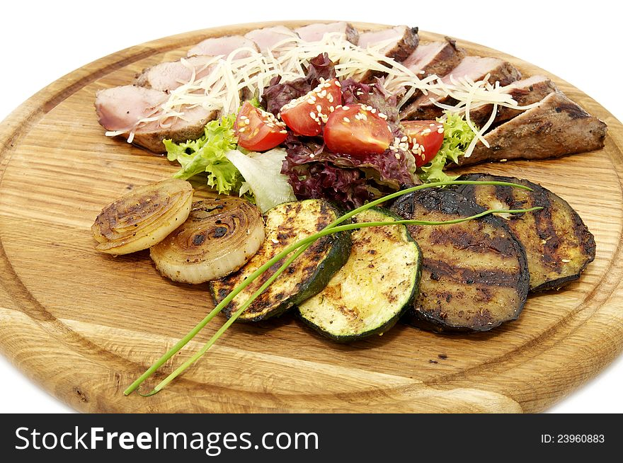 Grilled vegetables and meats